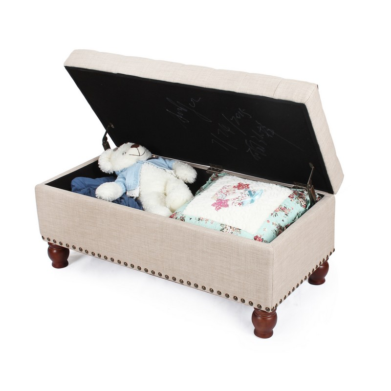 Adeco Beige Pu Fabric Storage Bench Ft0046 3