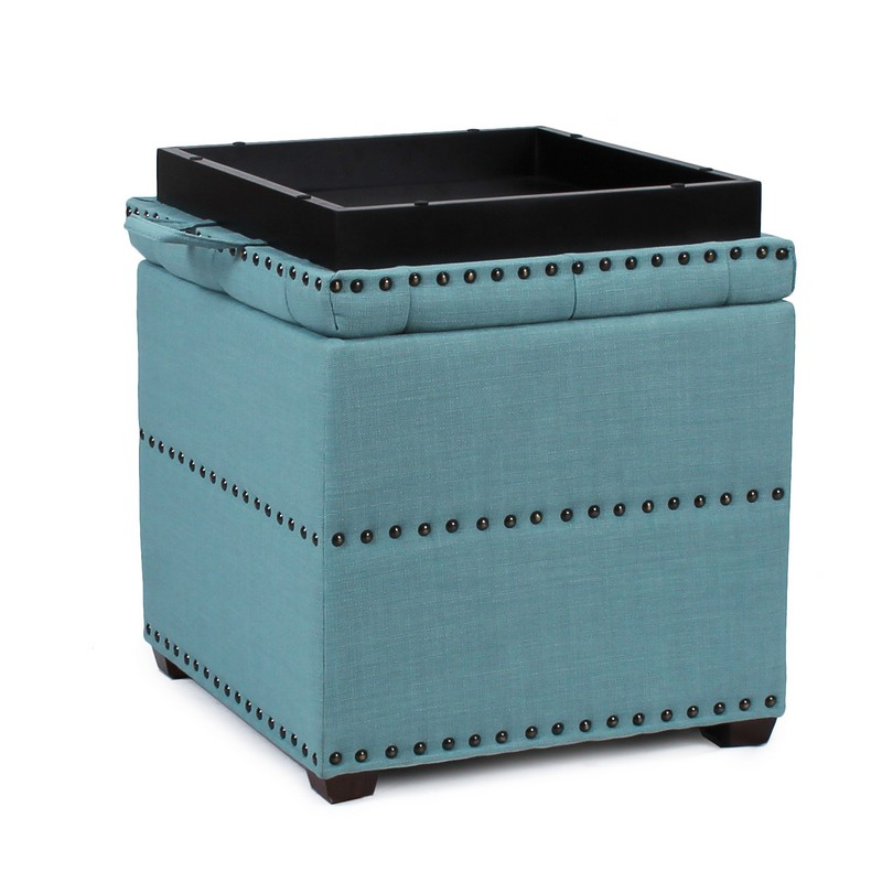 Adeco Blue Square Ottoman With Tray Amp Storage Ft0048 1