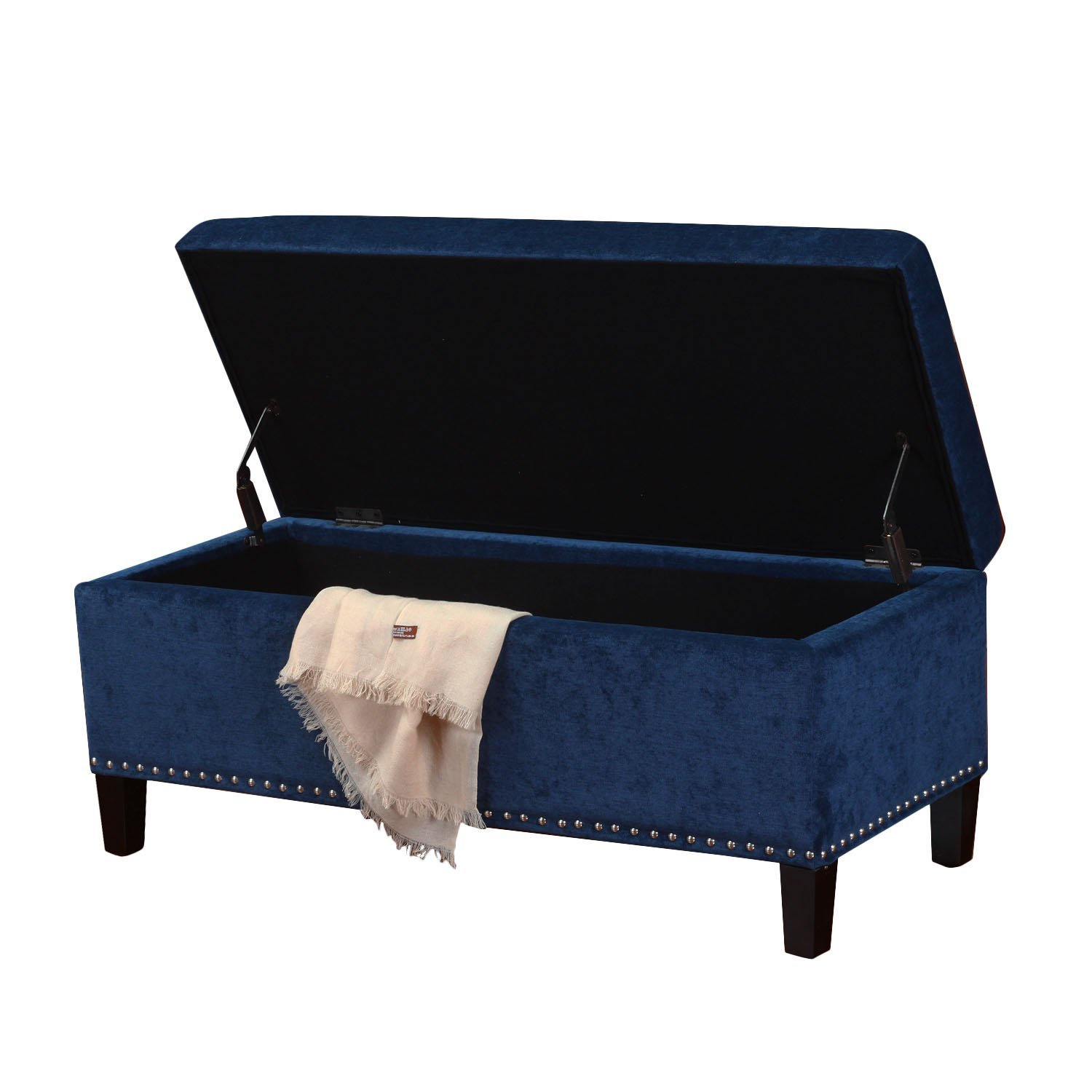 ... Adeco Royal Blue Microfiber Rectangular Tufted Storage Bench Ottoman  Footstool 42x18 ...