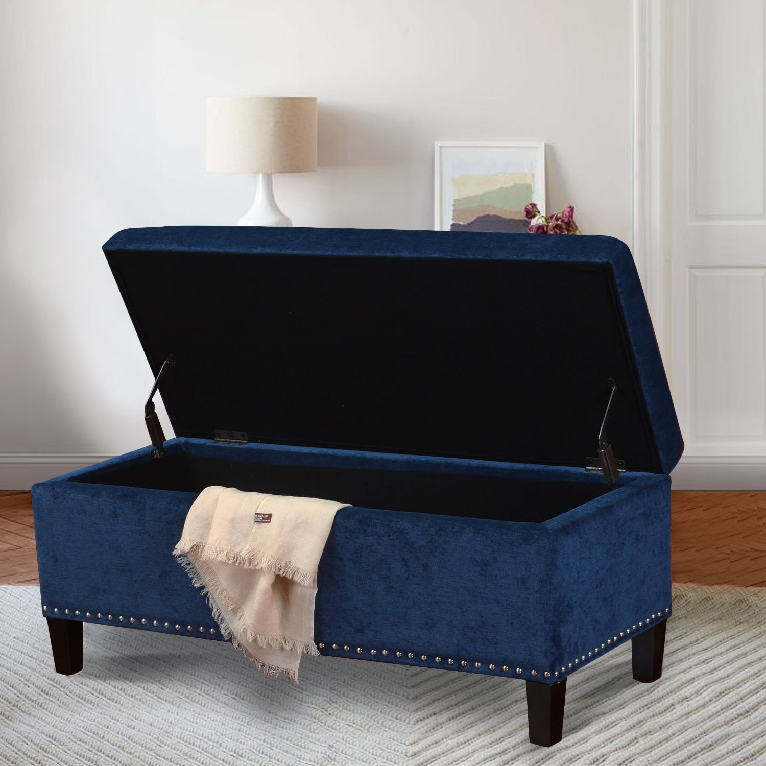 Adeco Royal Blue Microfiber Rectangular Tufted Storage