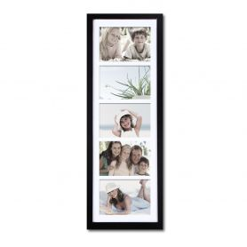Adeco Decorative Black Wood Wall Hanging Picture Photo Frame with Mat (5 Opening) 5x7