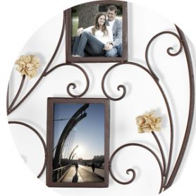 Adeco 6-opening Iron Heart-Shape Photo Picture Frame