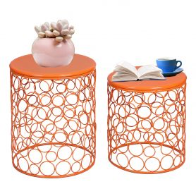Adeco Home Garden Accents Circle Wired Round Iron Metal Nesting Stool Side End Table Plant Stand  SET OF 2