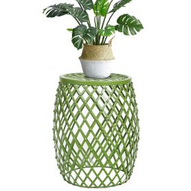 Adeco Home Garden Accents Wire Round Iron Metal Stool Side Table Plant Stand