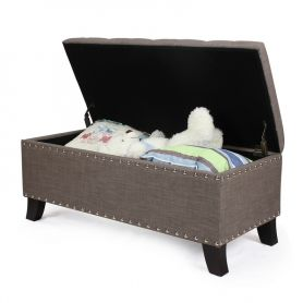 Adeco Brown  Frabrice Set of 3 Storage Ottoman / Bench