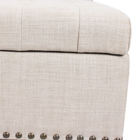 Adeco Beige PU Fabric Storage Bench