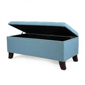 Adeco Blue Frabrice Set of 3 Storage Ottoman / Bench