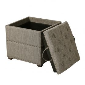 Adeco Brown Square Ottoman with Tray & Storage
