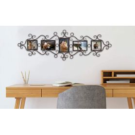 """Adeco Decorative Black Metal Wall Hanging Collage Picture Frame with Scroll and Circle Design, 5 Openings, 4x6"""", 4x4"""""""