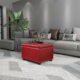Adeco Red  Bonded Leather Rectangular Ottoman