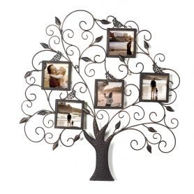 Adeco Metal Family Tree 5-Opening Picture Frame - Holds Five 4x4 Inches Photos