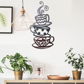 Adeco Wall Sculpture - Three Stacked Coffee Tea Cups