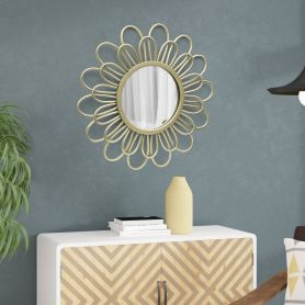 Adeco Metal Daisy Dimensional Wall Art with Mirror