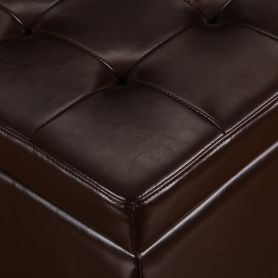 Adeco Brown Bonded Leather Square Tufted Storage Ottoman Footstool 18""