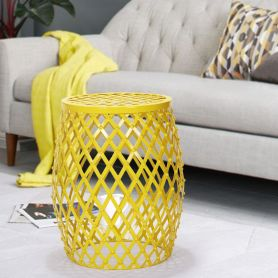Adeco  Yellow Hatched Diamond Pattern Round Iron Stool