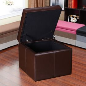 Adeco Brown Bonded Leather Contrast Stitch Square Cube Ottoman Footstool 16