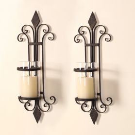 Adeco Iron and Glass Vertical Wall Hanging Candle Holder Sconce (Holds One Pillar Candle) - Adeco - HD0006