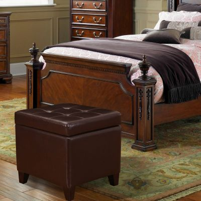 """Adeco Brown Bonded Leather Square Tufted Storage Ottoman Footstool 18"""""""