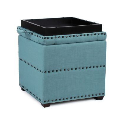 Adeco Blue Square Ottoman with Tray & Storage