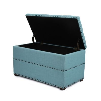 Adeco Blue Rectangular Ottoman with Storage