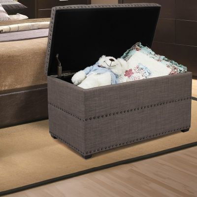 Adeco Brown Rectangular Ottoman with Storage