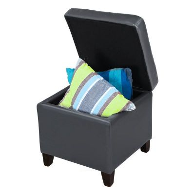 Adeco Grey  Bonded Leather Square Ottoman
