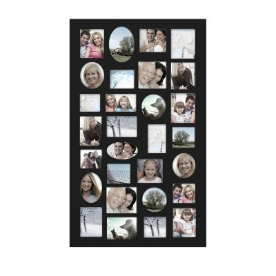 Adeco Decorative Black Wood Wall Hanging Collage Picture Photo Frame, 29 Openings, Various Sizes