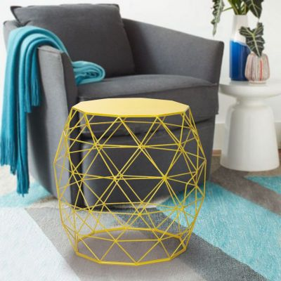 Adeco Bright Yellow Triangles Pattern Round Iron Stool
